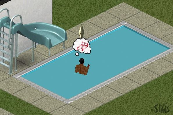 sims drowning in swimming pool with no ladder