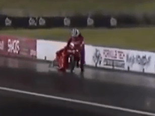 Watch slowest drag race ever as drivers forced to finish on foot