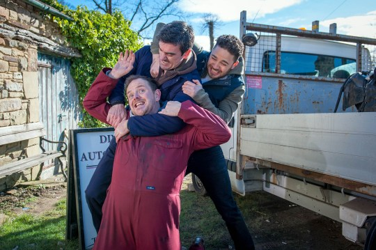 FROM ITV STRICT EMBARGO - No Use Before Sunday 20 March 2016 Emmerdale - Ep 7466 Friday 1 April 2016 Kerry (Laura Norton) canÕt wait to see her April FoolÕs Day prank on partner Dan (Liam Fox) play out. SheÕs set up a scenario where Dan thinks heÕs sent the wrong car to the crusher but sheÕs horrified when she sees Cain (Jeff Hordley) punching Dan and taken aback when Dan quits his job. As she hurries after Dan, itÕs clear from Adam (Adam Thomas) and CainÕs faces that allÕs not as it seems.  Picture contact: david.crook@itv.com on 0161 952 6214 Photographer - Andrew Boyce This photograph is (C) ITV Plc and can only be reproduced for editorial purposes directly in connection with the programme or event mentioned above, or ITV plc. Once made available by ITV plc Picture Desk, this photograph can be reproduced once only up until the transmission [TX] date and no reproduction fee will be charged. Any subsequent usage may incur a fee. This photograph must not be manipulated [excluding basic cropping] in a manner which alters the visual appearance of the person photographed deemed detrimental or inappropriate by ITV plc Picture Desk. This photograph must not be syndicated to any other company, publication or website, or permanently archived, without the express written permission of ITV Plc Picture Desk. Full Terms and conditions are available on the website www.itvpictures.com