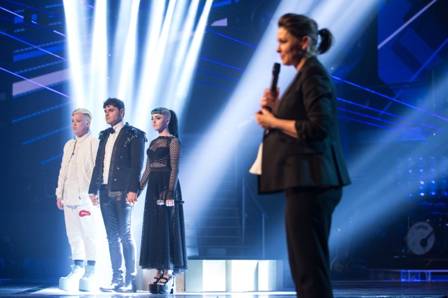 Programme Name: The Voice - TX: 26/03/2016 - Episode: The Voice - Episode 12 (No. 12) - Picture Shows: THE VOICE *LIVE* QUARTER FINAL Harry Fisher, Vangelis, Cody Frost, Emma Willis - (C) WALL TO WALL - Photographer: GUY LEVY