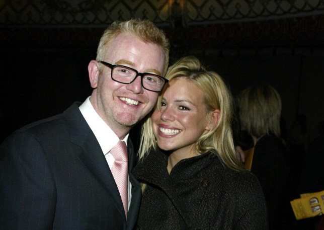 """LONDON - FEBRUARY 5: British comedian Chris Evans and singer Billie Piper attend the """"Grand Concert"""" for the Old Vic Theatre in Old Billingsgate Market on February 5, 2003 in London. (Photo by Dave Hogan/Getty Images)"""