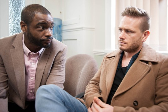 FROM ITV STRICT EMBARGO - No Use Before Tuesday 22 March 2016 Emmerdale - Ep 7462 Tuesday 29 March 2016 At the doctors, Doctor Bailey [MICAH BALFOR] reassures David Metcalfe [MATTHEW WOLFENDEN], Pollard's in good hands and encourages David to get checked over anyway whilst he's there. Picture contact: david.crook@itv.com on 0161 952 6214 Photographer - Andrew Boyce This photograph is (C) ITV Plc and can only be reproduced for editorial purposes directly in connection with the programme or event mentioned above, or ITV plc. Once made available by ITV plc Picture Desk, this photograph can be reproduced once only up until the transmission [TX] date and no reproduction fee will be charged. Any subsequent usage may incur a fee. This photograph must not be manipulated [excluding basic cropping] in a manner which alters the visual appearance of the person photographed deemed detrimental or inappropriate by ITV plc Picture Desk. This photograph must not be syndicated to any other company, publication or website, or permanently archived, without the express written permission of ITV Plc Picture Desk. Full Terms and conditions are available on the website www.itvpictur