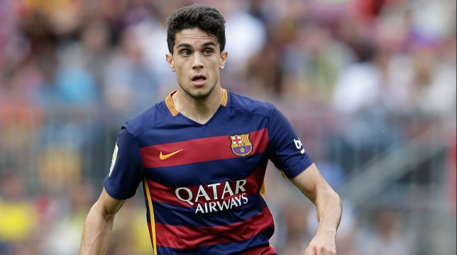 Marc Bartra of FC Barcelona during the Primera Division match between FC Barcelona and Las Palmas on September 26, 2015 at Camp Nou stadium in Barcelona, Spain.(Photo by VI Images via Getty Images)