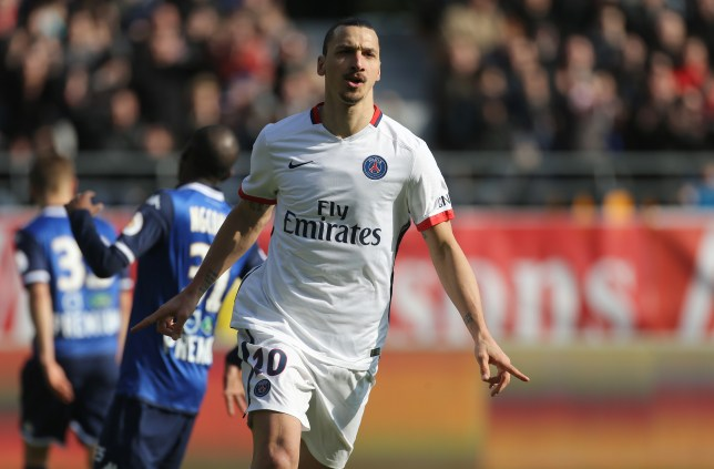 TROYES, FRANCE - MARCH 13: Zlatan Ibrahimovic of PSG celebrates his third goal during the French Ligue 1 match between ESTAC Troyes and Paris Saint-Germain (PSG) at Stade de l'Aube on March 13, 2016 in Troyes, France. (Photo by Jean Catuffe/Getty Images)