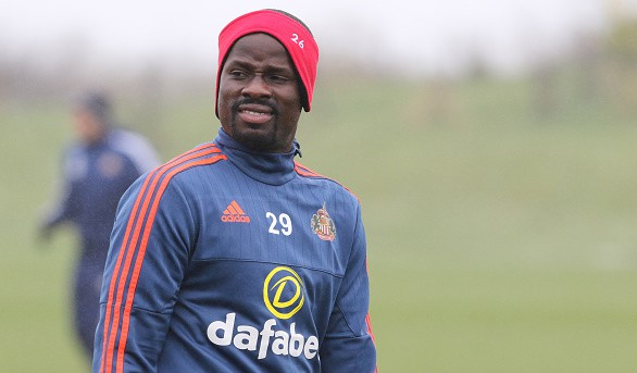 SUNDERLAND, UNITED KINGDOM - MARCH 15: Emmanuel Eboue during a Sunderland training session at the Academy of Light on March 15, 2016 in Sunderland, England. (Photo by Ian Horrocks/Sunderland AFC via Getty Images)