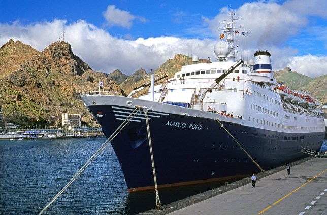 AAEBGD cruise ship Marco Polo docked in Tenerife Canary Islands Spain