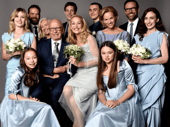 Jerry Hall shares family wedding picture after marrying Rupert Murdoch – but who wasn't smiling?