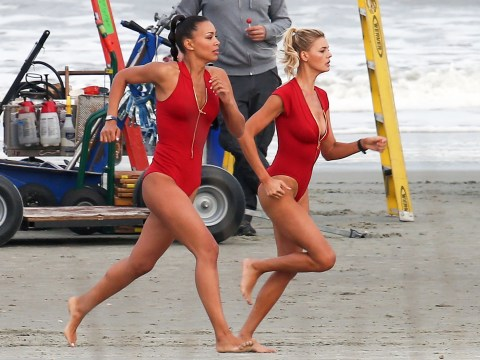 The Baywatch movie girls take centre stage as they recreate the 'running along the beach' moment