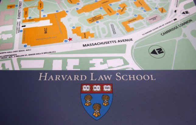 CAMBRIDGE, MA - MARCH 4: The seal of Harvard Law School in Cambridge, Mass., on an exterior map, March 4, 2016. The seal might be removed because it is associated with a slave owner. (Photo by David L. Ryan/The Boston Globe via Getty Images)