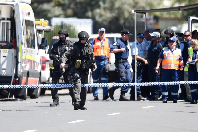 """epa05198735 Tactical Police at the scene of a shooting at Ingleburn, in Sydney, Australia, 07 March 2016. Gunfire in a Sydney suburb left one man killed and three other people injured early 07 March, police said. """"One man died at the scene,"""" New South Wales police said in a statement. At least three other people suffered gunshot wounds in Ingleburn neighbourhood in the south-west of Sydney, the police said. """"Two men have been taken to hospital for treatment. Their conditions aren't known."""" The incident was related to a domestic dispute, Sydney radio 2GB said, adding police were still hunting the gunman. EPA/DAN HIMBRECHTS AUSTRALIA AND NEW ZEALAND OUT"""