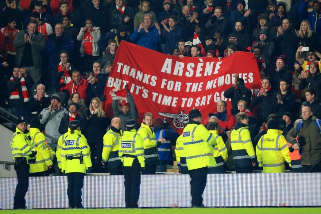 "Fans hold a banner calling for Arsene Wenger to be sacked in the stands during the FA Cup, fifth round replay match at the KC Stadium, Hull. PRESS ASSOCIATION Photo. Picture date: Tuesday March 8, 2016. See PA story SOCCER Hull. Photo credit should read: Mike Egerton/PA Wire. RESTRICTIONS: EDITORIAL USE ONLY No use with unauthorised audio, video, data, fixture lists, club/league logos or ""live"" services. Online in-match use limited to 75 images, no video emulation. No use in betting, games or single club/league/player publications."