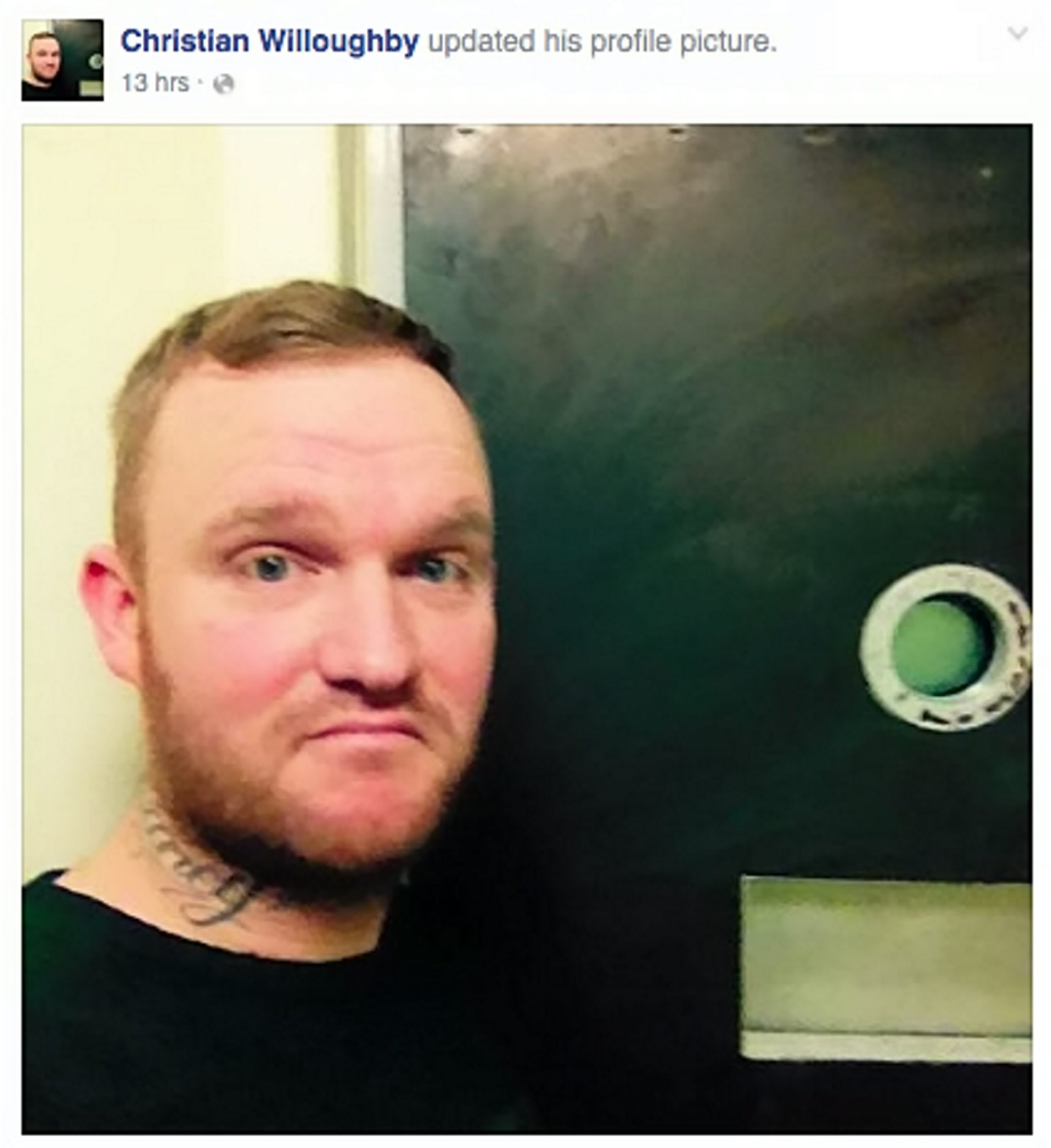 """Picture from the Facebook page of Christian Willoughby with his Trip Advisor style review of a Grimsby Police cell. See Ross Parry copy RPYJAIL : A prison pundit posted a hilarious Trip Advisor-style review of his """"4-star"""" stay behind bars online - complimenting the staff and his en-suite. The comedic critic described his room as """"ideal for winding down after a hard day"""" and thought """"the minimalistic idea was a nice touch"""". But joker Christian Willoughby thought the """"all-day breakfast"""" let down the accommodation. He somehow managed to take pictures in the cell which he posted to accompany the review, which show the food, bed and toilet standards."""