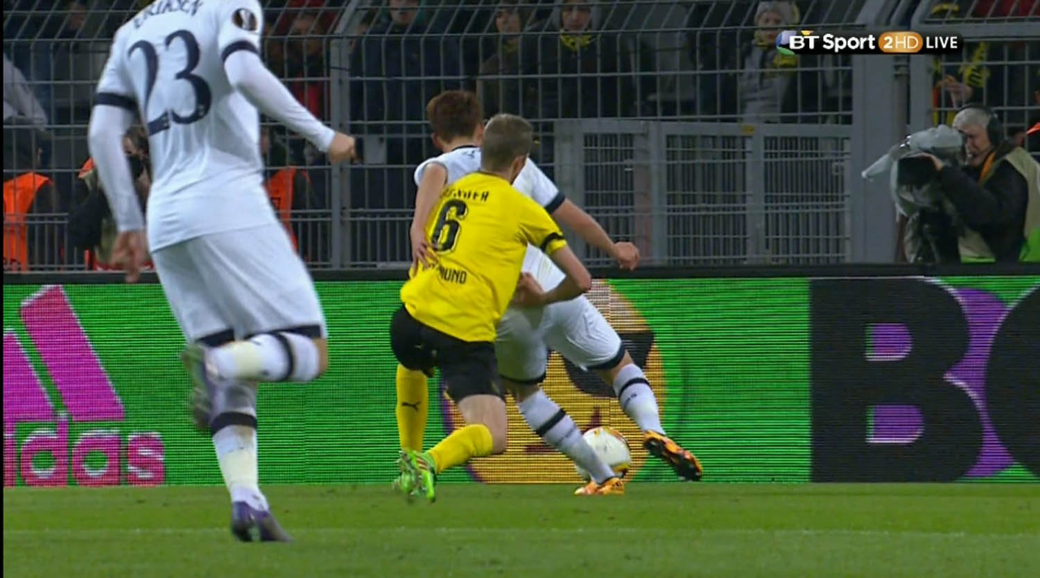 ****Ruckas Videograbs****  (01322) 861777 *IMPORTANT* Please credit BT Sport for this picture. 10/03/16 Borussia Dortmund v Tottenham Bender brings down Son but no penalty Office  (UK)  : 01322 861777 Mobile (UK)  : 07742 164 106 **IMPORTANT - PLEASE READ** The video grabs supplied by Ruckas Pictures always remain the copyright of the programme makers, we provide a service to purely capture and supply the images to the client, securing the copyright of the images will always remain the responsibility of the publisher at all times. Standard terms, conditions & minimum fees apply to our videograbs unless varied by agreement prior to publication.