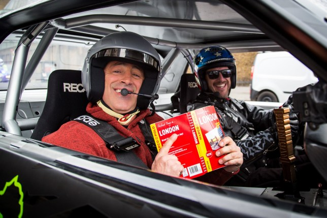 Undated handout photo issued by Top Gear of host Matt LeBlanc in a Ford Mustang in London with rally driver Ken Block. PRESS ASSOCIATION Photo. Issue date: Saturday March 12, 2016. Top Gear host Matt LeBlanc was joined by professional rally driver Ken Block for a trip around the streets of London in a Ford Mustang. The duo surprised a bride and groom and their wedding guests at St Paul's Cathedral as they motored past, with LeBlanc sticking his arm out of the car window to wave. See PA story SHOWBIZ TopGear. Photo credit should read: Hoonigan Racing/Ron Zaras/PA Wire NOTE TO EDITORS: This handout photo may only be used in for editorial reporting purposes for the contemporaneous illustration of events, things or the people in the image or facts mentioned in the caption. Reuse of the picture may require further permission from the copyright holder.
