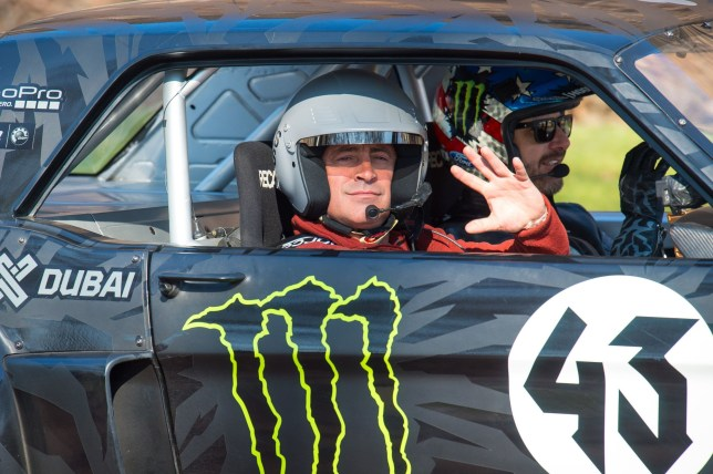"Matt LeBlanc (left) and rally driver Ken Block (right) during filming of BBC Top Gear in Westminster, London. PRESS ASSOCIATION Photo. Picture date: Sunday March 13, 2016. George Osborne has scolded Top Gear's Chris Evans for making a racket near Downing Street and distracting him from writing the Budget. The Chancellor said a ""noisy episode"" of the BBC Two show was being filmed in central London on Sunday. See PA story SHOWBIZ TopGear. Photo credit should read: Dominic Lipinski/PA Wire"