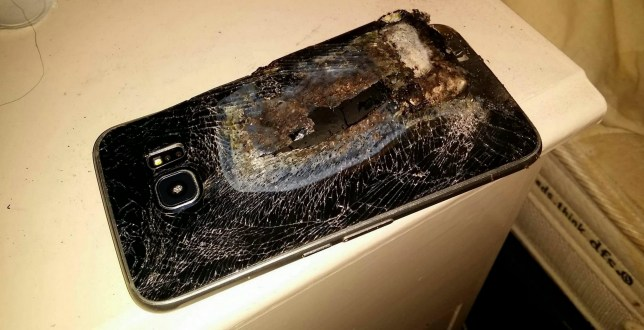 Collect of the exploded Samsung phone. See SWNS story SWPHONE; A mum thought her family's life was in danger when her mobile phone exploded - next to her sleeping toddler. Lucy Pinder, 28, was sleeping next to her three-year-old son Joseph with her phone charging on the floor, when the Samsung device suddenly started smoking and burst into flames. The waitress, whose electrician husband Michael was sleeping downstairs, was sharing her bed with toddler Joseph when the phone woke her up with a giant bang. Lucy said: ìI woke up to a massive bang and the room was filled with thick smoke.