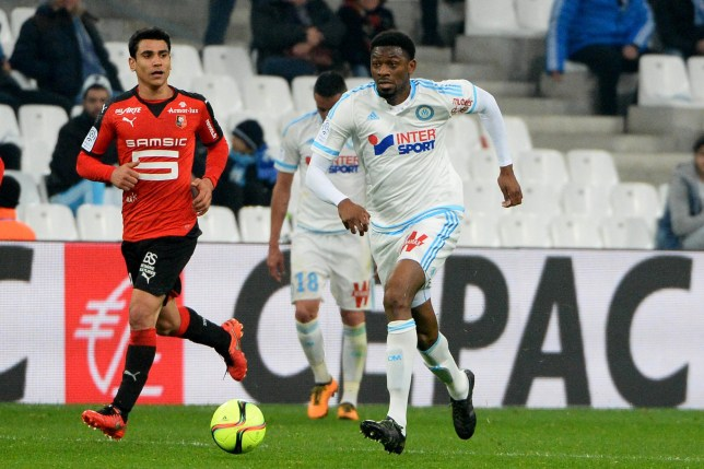Benjamin ANDRE of Rennes and Abou DIABY of Marseille during the French Ligue 1 match between Olympique de Marseille v Stade Rennes at Stade Velodrome on March 18, 2016 in Marseille, France. (Photo by Mathieu Valro/Icon Sport via Getty Images)