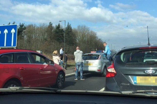 M56 motorway closed after man is knocked out in third-lane fight Credit: MEN