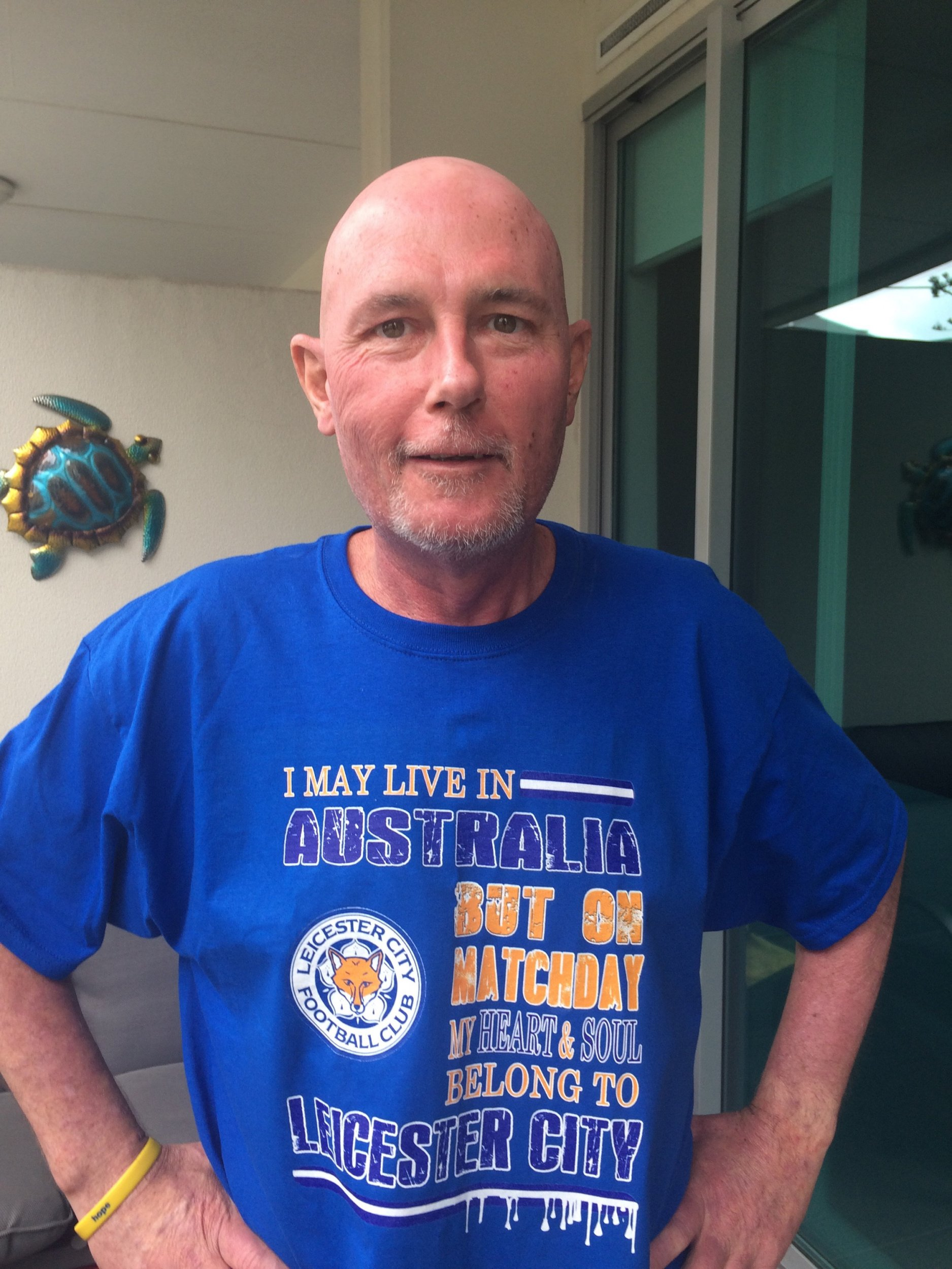 Tony Skeffington. A lifelong Leicester City fan who may have just weeks to live has been given a boost by his heroes. See NTI story NTIFAN. Tony Skeffington, 51, who was born and raised in Adelaide, South Australia, was given four weeks to live in March last year after being diagnosed with cancer. But like the team he has followed all his life he defied the odds and is still battling on and hopes to see the club win the Premier League title. This week he was given a major boost when the club sent him an LCFC pennant signed by first team players, complete with a photograph of his favourite player, Andy King, holding it.