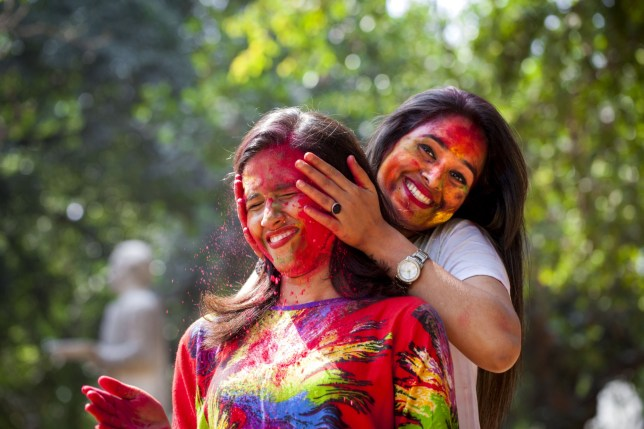 """23 Mar 2016, Dhaka, Bangladesh, Bengal --- March 23, 2016 - Dhaka, Dhaka, Bangladesh - March 23, 2016 Dhaka, Bangladesh ¿Ä"""" Dhaka University Art Students celebrate the Holi Festival or Festival of Colors after smearing each other with colored powder in Dhaka, Bangladesh. Holi festival is celebrated on the full moon day in the month of Phalguna and marks the start of the spring season. (Credit Image: © K M Asad via ZUMA Wire) --- Image by © KM Asad/ZUMA Press/Corbis"""