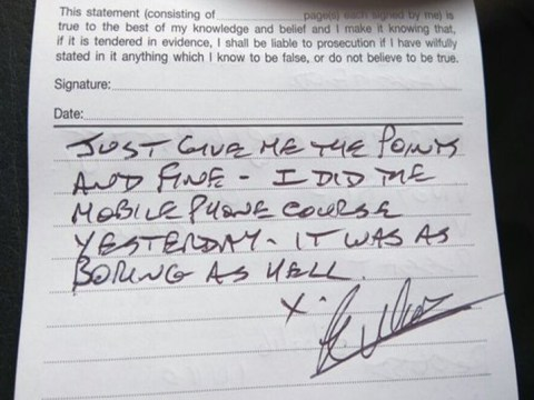 Driver opts for points and a fine over 'boring as hell' course in note to police