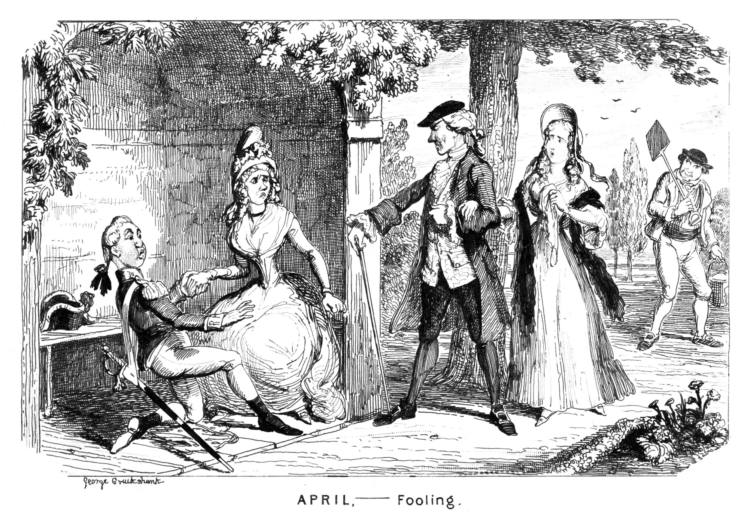 'April - Fooling', c1839. Illustration from Stubbs's Calendar; or, The Fatal Boots by William Makepeace Thackeray, (1839). (Photo by The Print Collector/Print Collector/Getty Images)
