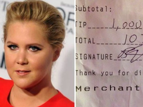Amy Schumer gave bar staff a $1000 tip on a $77 bill after a night at the theatre