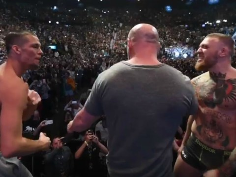 Nate Diaz makes Conor McGregor flinch at weigh-in ahead of UFC 196 fight