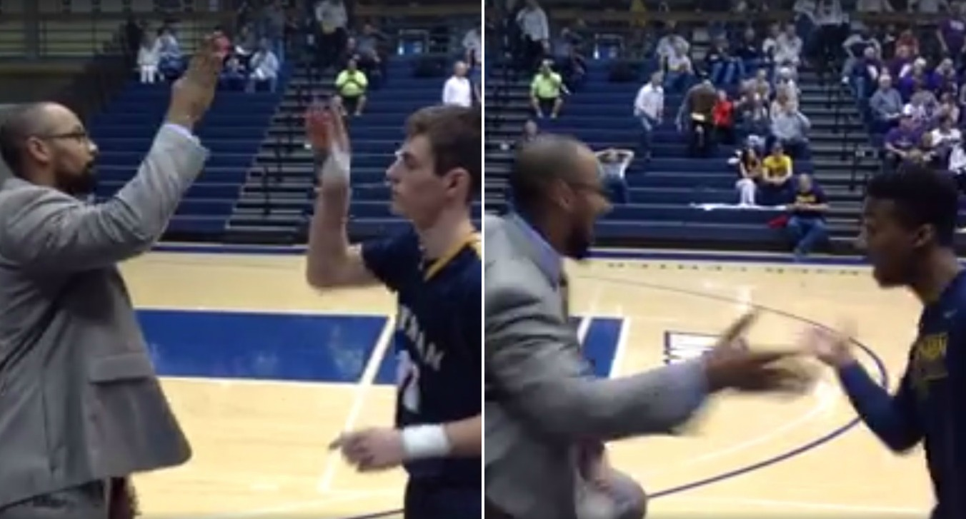 Basketball coach has personal handshake for every single player on team