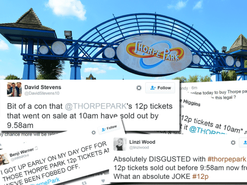 Thorpe Park started selling their 12p tickets early and people are furious