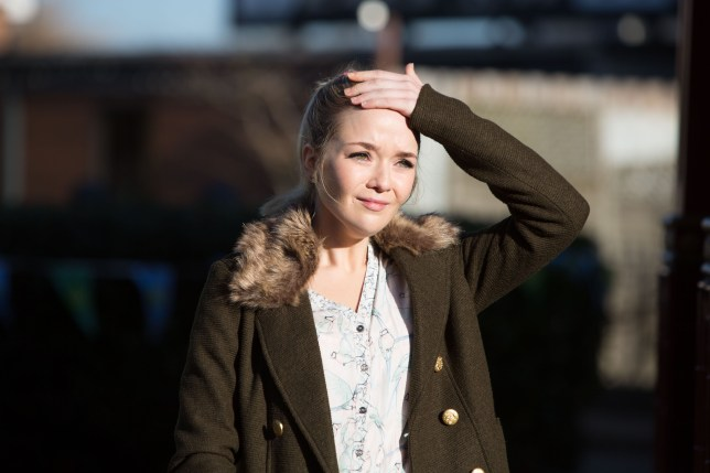 WARNING: Embargoed for publication until 00:00:01 on 22/03/2016 - Programme Name: Eastenders - TX: 28/03/2016 - Episode: 5253 (No. n/a) - Picture Shows: Abi is devastated when she sees Paul comforting Ben. Abi Branning (LORNA FITZGERALD) - (C) BBC - Photographer: Jack Barnes