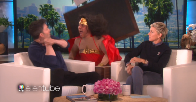 Ben Affleck was freaked out by a man dressed as Wonder Woman on Ellen (Picture: NBC)