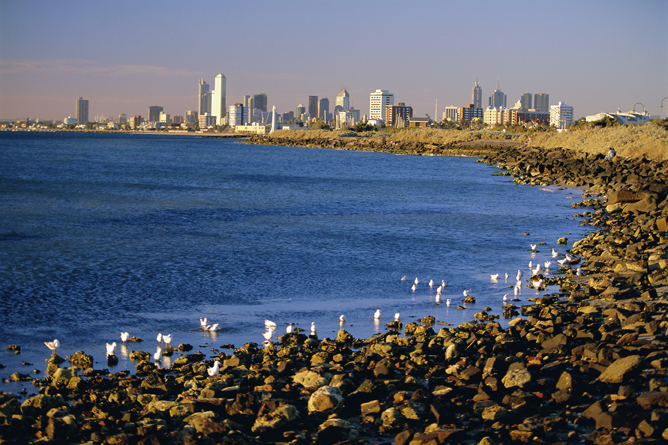 Seafront in the suburb of Saint Kilda looking towards the Melbourne city skyline, Melbourne, Victoria, Australia