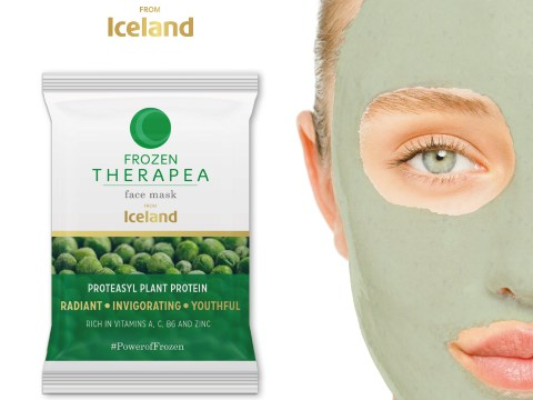 Therapea face mask made from frozen peas is full of antioxidants