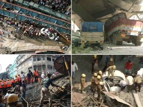 At least 14 dead and 150 trapped after flyover collapse in India