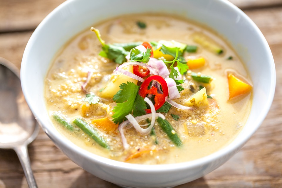 Thai Yellow Quinoa & Potato Vegan Curry made with potato, onion, green beans , courgette, coconut milk, chills, coriander, shallots, turmeric, yellow peppers, vegetable stock & yellow curry paste (Picture: La Fosse)