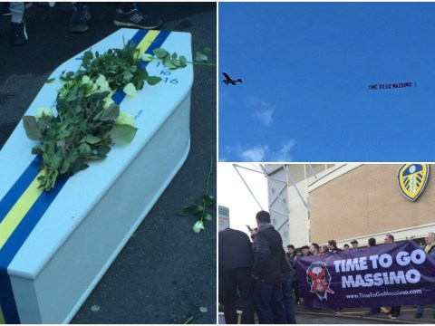 Leeds fans stage fake funeral in protest of owner Massimo Cellino