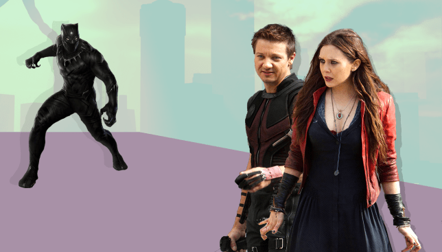 Scarlet Witch and Hawkeye think Black Panther's outfit sucks (PICTURE: REX/Alamy - CREDIT: MylesGoode