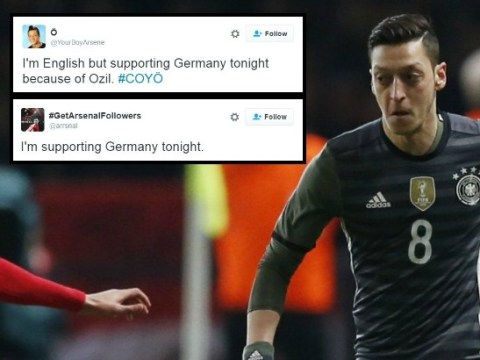 Arsenal fans are supporting Germany against England because Mesut Ozil is playing