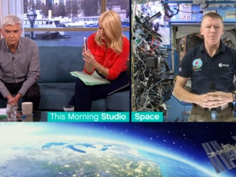 This Morning's Holly Willoughby caught taking photos while Tim Peake patiently waits for interview to begin