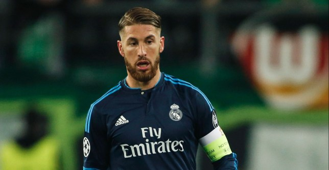 Real Madrid's defender Sergio Ramos controls the ball during the UEFA Champions league quarter-final, first leg football match between Wolfsburg and Real Madrid in Wolfsburg on April 6, 2016. / AFP / ODD ANDERSEN (Photo credit should read ODD ANDERSEN/AFP/Getty Images)