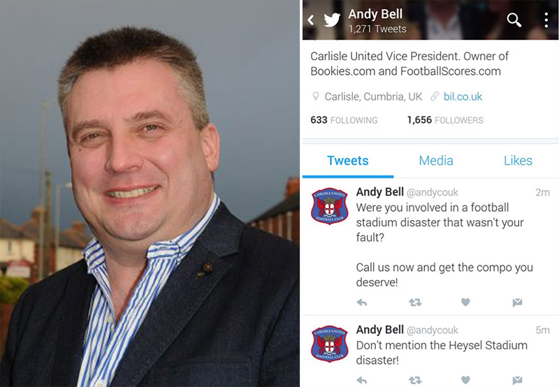 Football boss claims his Twitter was hacked after Hillsborough Disaster compensation tweet