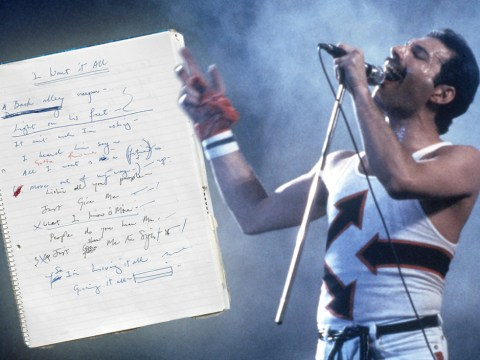 Freddie Mercury's personal notebook featuring Queen lyrics for some his biggest songs is expected to sell for £70,000