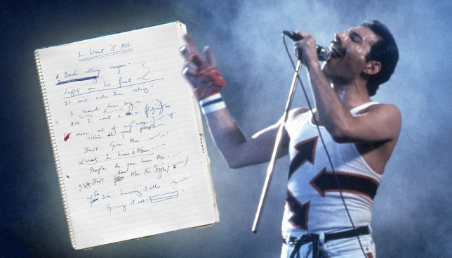 Freddie Mercury's personal notebook which featured lyrics for some his most important songs is expected to sell for £70,000 Credit: REX/SWNS/Metro