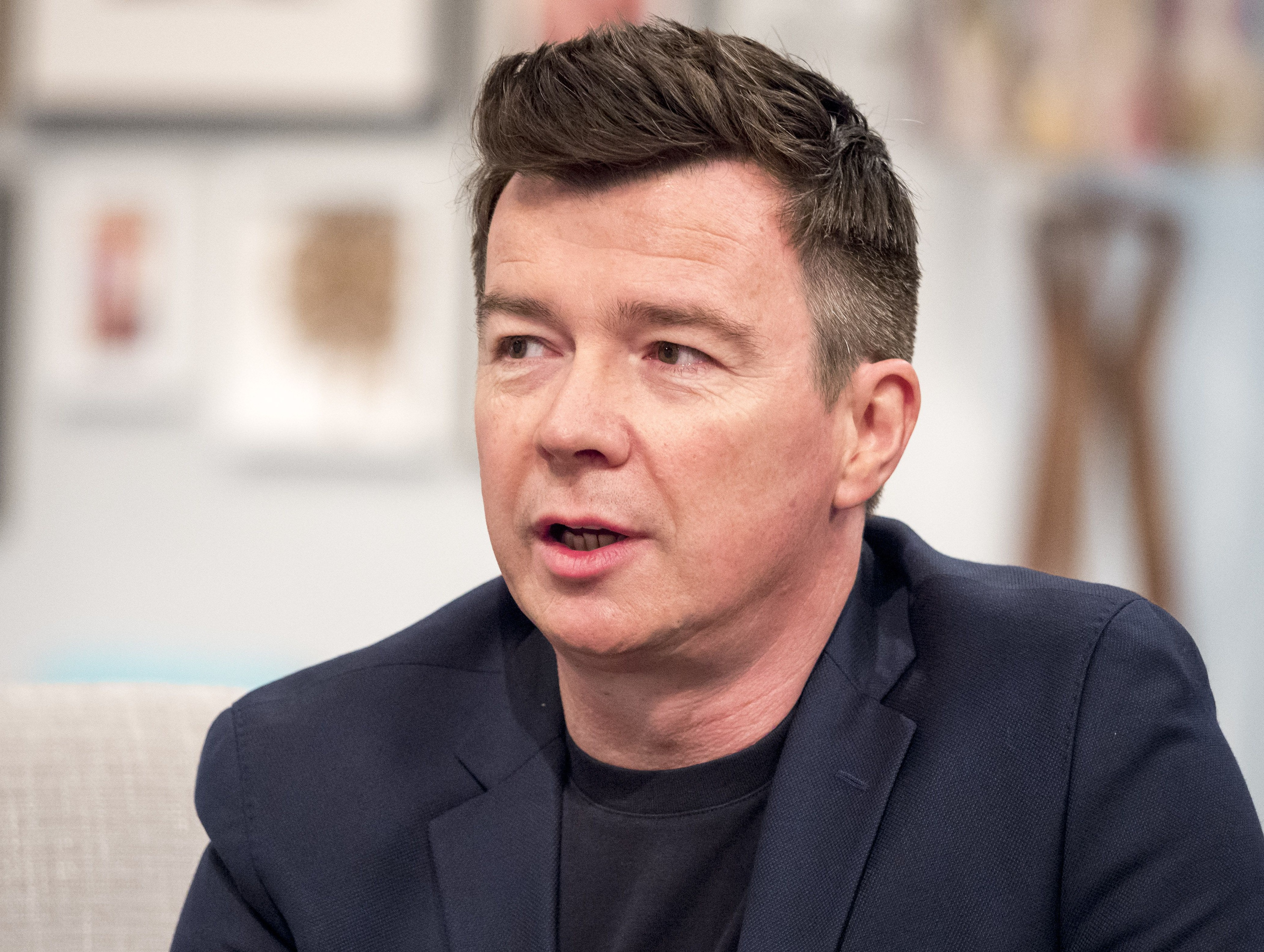 EDITORIAL USE ONLY. NO MERCHANDISING Mandatory Credit: Photo by Ken McKay/ITV/REX/Shutterstock (5624304k) Rick Astley 'Lorraine' TV show, London, Britain - 07 Apr 2016 Rick Astley will be joining Amanda live in the studio to tell us all about his new single and album. Rick was one of the eighties most successful artists and he's now back with his first album in over a decade., Rick also has an exclusive announcement for his fans.