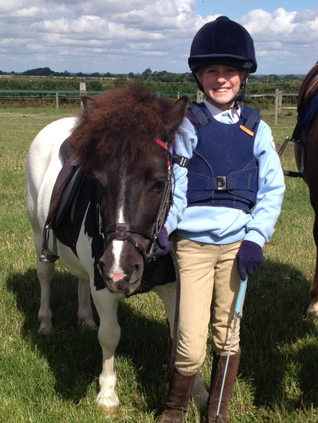 "Collect photo from the family of Bonnie Armitage aged 9 who died following a riding accident on Saturday 2nd April near Stroud in Gloucestershire (pony pictured is Lindsay the Shetland pony, that Bonnie was riding when a larger horse in front kicked her). See SWNS story SWHUNT; Vile online trolls have targeted the tragic nine-year-old girl killed when she was kicked by a horse as she rode with a hunt. Bonnie Armitage fell from the saddle of her Shetland pony Lindsay after she was struck in the chest in the ""freak accident"". Bonnie, who was a pupil at St Hugh's preparatory school in Faringdon, Oxon. where her father Nick Armitage, 40, is deputy head, sustained fatal injuries and died in hospital. Her parents, Nick and Polly, a professional flute player, paid tribute to their ""beautiful little girl"" and said no-one was to blame for their daughter's death."