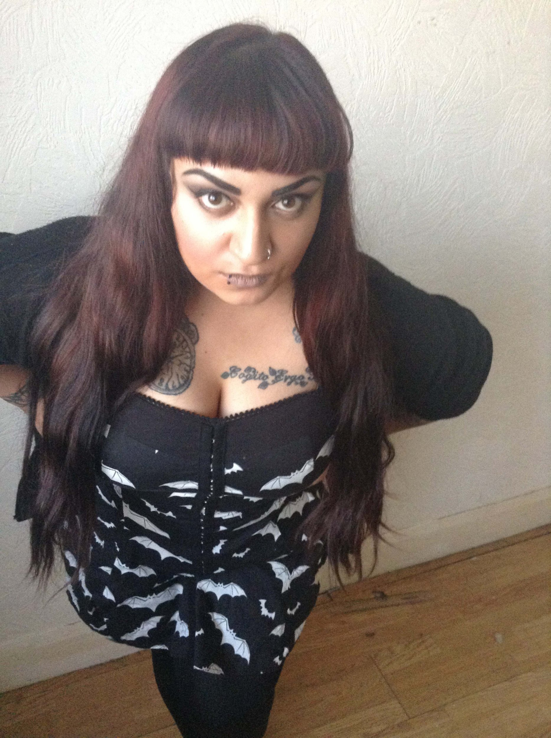PIC FROM MERCURY PRESS (PICTURED: AISAH KHATOON, 25, IN THE OUTFIT SHE WORE AT TESCO WHEN SHE CLAIMS TO HAVE BEEN 'HUMILIATED AND RIDICULED') A goth claims she was ëhumiliated and ridiculedí for the way she dressed when she visited Tesco ñ by two members of STAFF. Aisah Khatoon, 25, had visited the supermarket in Beckenham, London, with a friend when she noticed the two employees stood in an aisle. The full-time carer claims the two staff members began whispering and pointing at her, making Aisah feel like she was ësome kind of freak showí. In disbelief, Aisah told her friend Claire Williams, 26, what had happened and the duo returned to the aisle where the women were stood. SEE MERCURY COPY