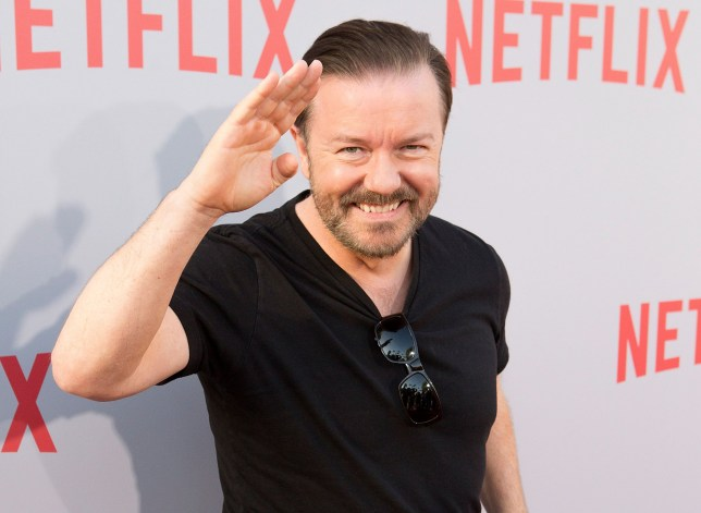 "HOLLYWOOD, CA - APRIL 08: Ricky Gervais arrives for Netflix new series ""Derek"" - Los Angeles special screening And Q&A at Paramount Studios on April 8, 2015 in Hollywood, California. (Photo by Gabriel Olsen/FilmMagic)"