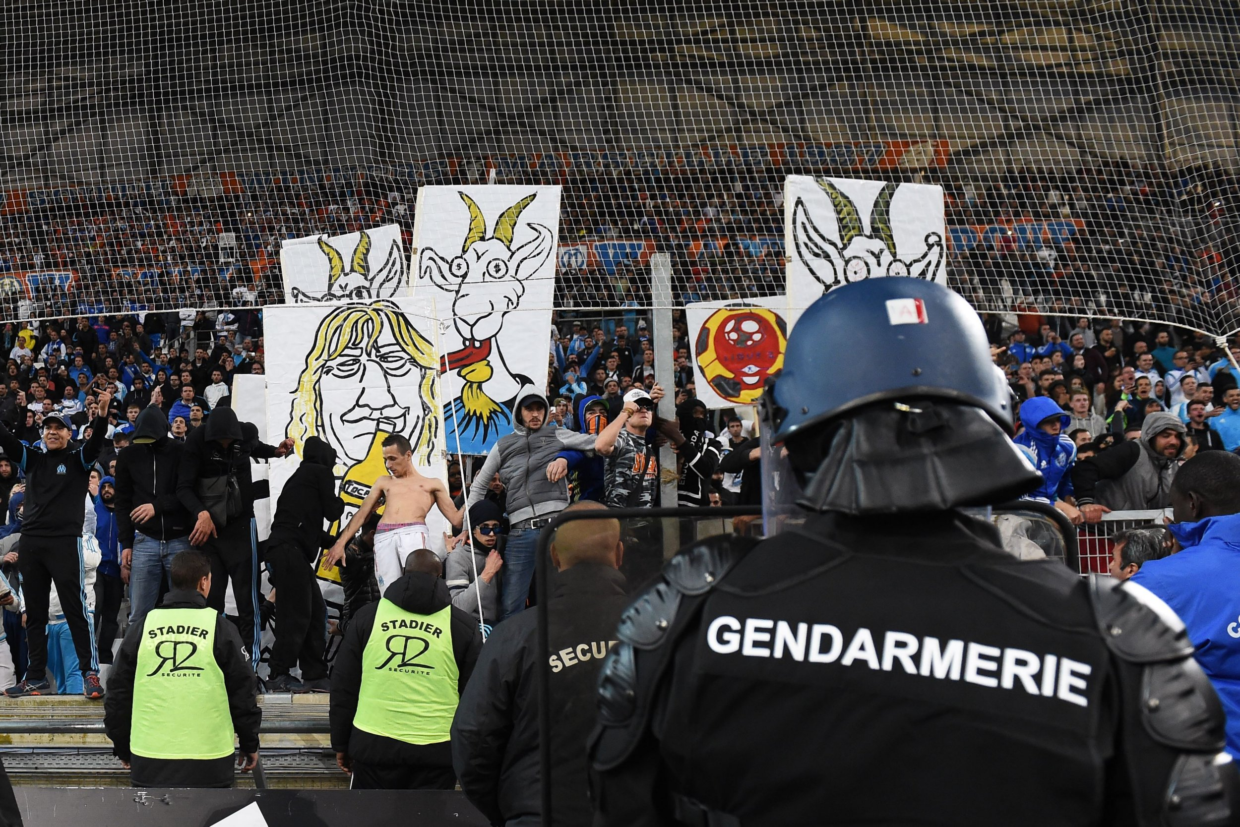 Marseille fans mock their own team by playing Benny Hill music whenever they have possession