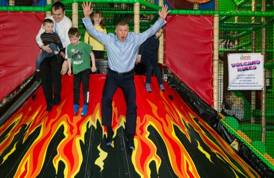 Scottish Liberal Democrat leader Willie Rennie launches his parties manifesto at Jungle Adventure soft play area in Edinburgh, where he slid down a volcano slide with children of his parties candidates. April 15 2016